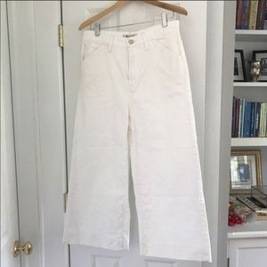 Madewell wide leg white crop jeans size 30